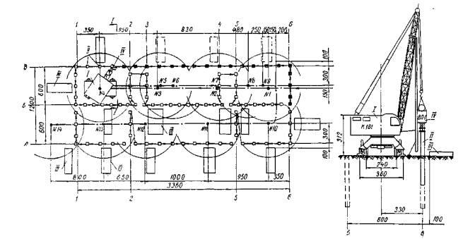 I - кран К-161; II - сваи; III -места складирования свай; IV-вибропогружатель ВП-1.  Рис. 1. Схема организации работ...